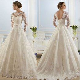 new arrival lace long sleeve wedding dress white ivory a line open back high bridal gown custom size 2 4 6 8 10 12 14 16 18 20 22 24 26 28