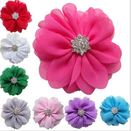 Discount chiffon flowers hair clips - 15% off!7.5cm Shabby chiffon flower Rhinestone Pearl Center Flat Back for hair headband hair clips headdress Brooches ac