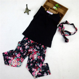Kids Hot Pants Set Canada - 1 to 8 years baby Girls summer floral sets, (vest + pants + hair band), hot sell, Retail kids boutique fashion clothing, R1AA802CS-01