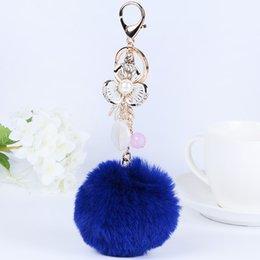 $enCountryForm.capitalKeyWord Canada - Rabbit Fur Ball Pom Pom Key Chain Gold Plated Keychain with Plush for Car Key Ring or Handbag Bag Decoration