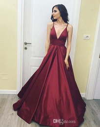 Barato Vestido Longo De Cetim Vermelho Satinado-2018 Dark Red New Design V Neck Prom Dresses Sexy Spaghetti Strap Sweep Train Satin Borgonha Pageant Vestidos Long Prom Party Dress Cheap