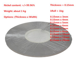 $enCountryForm.capitalKeyWord Canada - Thickness 0.15mm Weight 1kg roll Pure Nickel Plate Strap Strip Sheets 99.96% for 18650 Battery Spot Welder