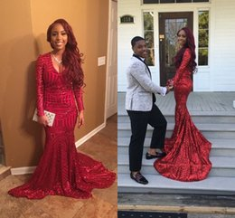Barato Longo Vestido Vermelho Sequin-2017 Red Long Mermaid Evening Dresses com mangas compridas Sexy Deep V Neck Sequin Formal Evening Gowns Red Carpet Celebrity Dress