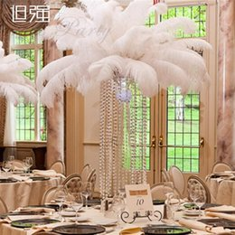 Large White Feathers Canada - Best selling Large Size White Ostrich Feather Plume Craft Supplies Wedding Party Table Centerpieces Decoration Free Shipping