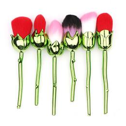 Flowers made hair online shopping - 6pcs Set Multicolored Rose Flower Shape Makeup Brushes Foundation Powder Make Up Brushes Set Pincel Maquiagem Tools