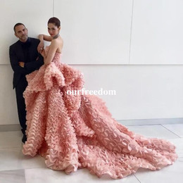 Celebrity oCCasions dresses online shopping - Gorgeous Strapless Ruffles Tulle Evening Dresses Peplum Sweep Train Detail Celebrity Prom Occasion Dresses Custom Made