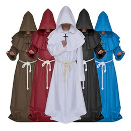 medieval gowns white Canada - Medieval Costume Monk Costume Multicolor Friars Cosplay Gown Robe with the Cross Halloween Costumes Plus Size Available