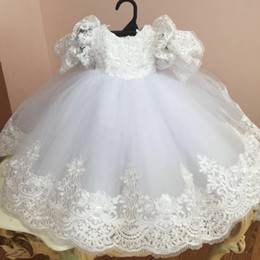Tulle Enfant Pas Cher-Nouvelles robe de bal Robes de baptême pour le bébé autocollantes dentelle baptême robe à manches courtes Cheap Tulle Kid First Dress Communication