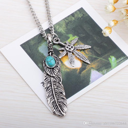 Mens feather pendant canada best selling mens feather pendant 2016 mens feather necklace vintage turquoise pendant feather leaf claw sweater chain collares mujer steam punk choker necklace aloadofball Image collections