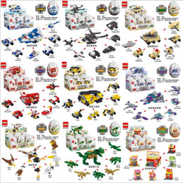 warships toys Canada - Six in one Assemble eggs Aircraft monster ship warships tank minitoy building blocks figures bricks toys