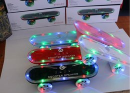 radio skateboards 2019 - New Skateboard Scooter Design Colorful LED Light Speaker Bluetooth Mini Wireless Stereo Speakers Subwoofers FM Radio Ste