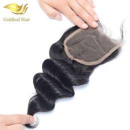 virgin hair bleached knot closure 2019 - Brazilian 100% Virgin Human Hair Loose Wave Lace Closure 8''-20''Free Middle 3 Part Bleached Knots M