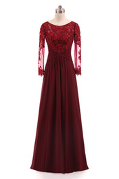 Formal Evening Dresses For Plus Size UK - Burgundy Evening Dresses Long Sleeves Lace Appliques Pleated Chiffon Formal Dresses Evening Wear For Women Cheap Plus Size Real Photo