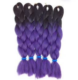 "Ombre Kanekalon Jumbo Braid Hair UK - Kanekalon jumbo braiding hair black purple ombre braiding hair for small box braids and twist braids synthetic jumbo braids 24"" 100g"