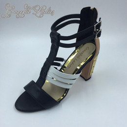 $enCountryForm.capitalKeyWord NZ - 2016 Real Image Womens Sandals Cheap Modest Square Heels Buckle Strap Fashion Ladies Party Evening Shoes Sandals For Women New Hot Sale