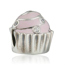 Easter Cupcake Cakes Australia - Mother Day Gift Sweet Cupcake Charms Bead 925 Sterling Silver Pink Enamel Cake Bead For Jewelry Making DIY Charm Bracelets Accessories