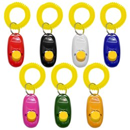 media keys Australia - Wholesale 50 Pcs Dog Clicker Cat Sound Training Trainer with Key Ring And Wrist Strap 7 Colors