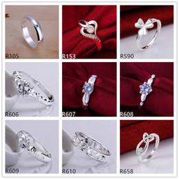 10 peças de estilo diferente das mulheres anéis de prata esterlina DFMR9, atacado de alta qualidade moda gemstone 925 anel de prata venda direta da fábrica venda por atacado