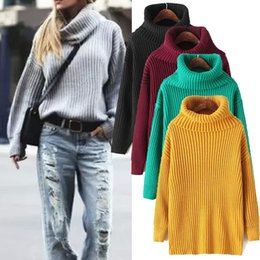 Barato Jaqueta De Gola-New Lapel Loose Pile Sleeve Sweater Jacket Mulheres Collar Sweater Inverno Thick Retro High Sleeve Knit Thicken Camisola sweater Sweater cor
