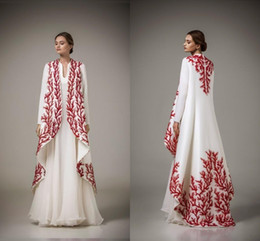 AbAyA kAftAns online shopping - arabic kaftans dresses traditional abayas for muslim high neck a line white chiffon red embroidery arabic evening gowns ONLY coat