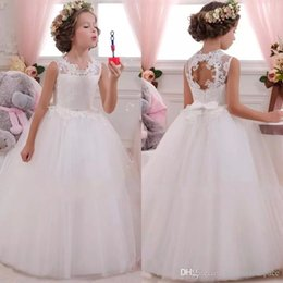 Barato Casamentos Baratos Da Menina Vestidos-2017 Spring Flower Girl Dresses Vintage Jewel Sash Lace Net Baby Girl Festa de Aniversário Christmas Princess Dresses Children Girl Party Dresses