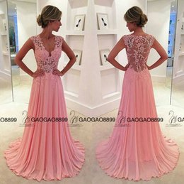 long evening peplum dresses back drape 2018 - Blush Pink Chiffon Lace Simple Chiffon Dresses Evening Party Wear 2017 V-neck Lace Back Full length Holiday Occasion Pro
