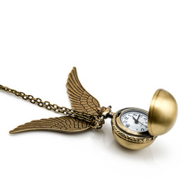 China 3 Models Harry Golden Snitch Pocket Watch Antique Bronze Wing Ball Pendant Necklace Chains Potter Fashion Jewelry Fans Gift Drop Shipping suppliers