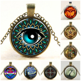 Flowers For Summer Planting Canada - Necklace Pendants for Women Men Vintage Bronze Statement Chain Jewelry Summer Style Glass Cabochon Locket Chain Necklaces