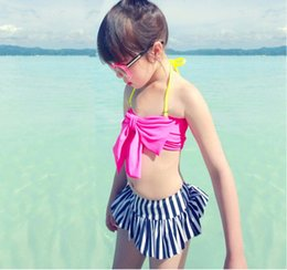 Barato Novas Meninas De Biquíni-New Arrivals Children's Girl's Swimwear Stripe Swimsuit Bikini + Shorts + Hat 3 PCS kids Girl Bathing Suit