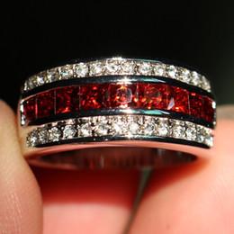 Antique bAnd box online shopping - Size Fashion Jewelry Antique Jewelry Men Garnet Diamonique Cz Diamond Gemstone KT White Gold Filled Wedding Band Ring gift with box