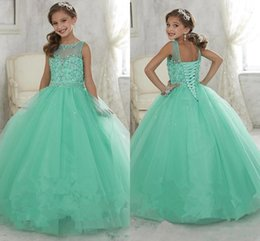 Barato Meninas Espartilho-2017 Cute Mint Green Little Girls Pageant Vestidos Tulle Sheer Crew Neck Cristal Fraldado Corset Back Flower Girls Birthday Princess Dresses