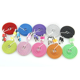 Chinese  10ft 6ft 3FT Noodle Flat Braid Charging Cord Sync Fabric Micro Wire USB Data Woven Cable For Android Mobile Phone 100Pcs manufacturers