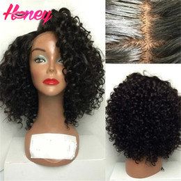 full lace wig side part Canada - Brazilian Lace Front Human Hair Wigs Side Part Kinky Curly Glueless Full Lace Wigs For Black Women Cheap Lace Front wigs With Baby Hair
