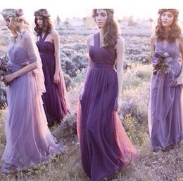 Stock Clothes Winter NZ - New Arrival 2018 Long Bridesmaid Dress Fashion Design Halter Party Bridemaid Purple Bridesmaid Dresses New Brand Clothes vestido