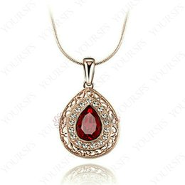 $enCountryForm.capitalKeyWord Australia - Yoursfs Luxury Precious Ruby Claret Water Droplet Shape Pendant Necklace 18K Rose Gold Plated Statement Necklace For Women Fashion Jewelry