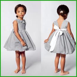 $enCountryForm.capitalKeyWord Canada - Toddler Kids Baby Girls Summer Flower Dress Princess Party Pageant Tutu Dresses factory killing price gray stripes sleeveless cool dresses