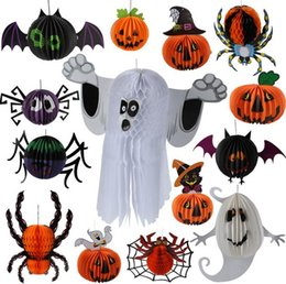 Wholesale Halloween Three dimensional Ornament Party Supplies Colorful Ghost Witch Bats Spider Parachute Pendant Bar KTV Decoration DH12