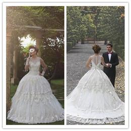 $enCountryForm.capitalKeyWord NZ - 2017 New Sleeveless Wedding Dresses Jewel Lace Appliques Customized Wedding Dress Sweep Train Sheer Bridal Gowns
