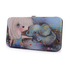 $enCountryForm.capitalKeyWord UK - Cute Girl & Elephant Printing Ladies Clutch Wallet Leather Lunch Box Designer Long Wallet Vintage Women Handy Bag Purse For Iphone 6 Plus