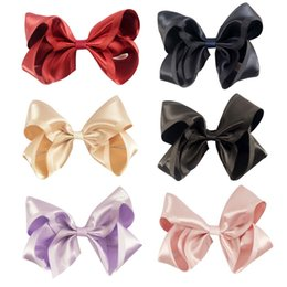 "$enCountryForm.capitalKeyWord Australia - 12pcs  Lot4 .5 ""High Quality Girl Satin Alligator Hair Bows Gum With Clips  Hair Pins Kids Headbands Hair Accessories"