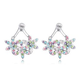 $enCountryForm.capitalKeyWord Canada - Summer Sale Design Luxury Austrian Crystal Elegant Flower Clusters Group Real Gold Fashion Jewelry Accessories Charm Stud Earrings For Women