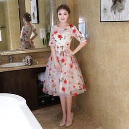 Discount apple flower tea - Fashion Formal Cheap Prom Dresses 2017 In Stock Real Photo Jewel Neck Half Sleeves With Flowers Tea Length Short Cocktai