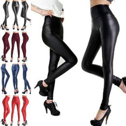 Pied De Leggings En Cuir Pas Cher-Jambières Leggings en similicuir taille haute Pantalon crayon Skinny Legging Élastique Legging Sexy Collants extensibles Pantalon de pied brillant 100pcs OOA3203