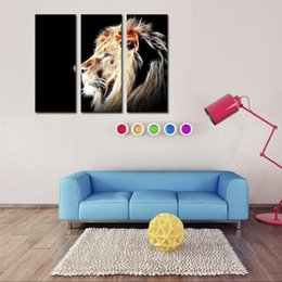 $enCountryForm.capitalKeyWord Canada - 3 Picture Combination Lion Head Portrait Wall Art Painting Pictures Print On Canvas Animal The Picture For Home Modern Decor