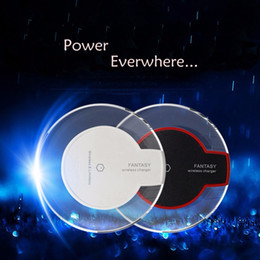 Wholesale qi wireless receiver iphone resale online - 2016 Newest Universal QI Wireless Charger with receiver Charging Pad Fantasy High Efficiency Blue Light Crystal for iPhone Samsung LG Nokia
