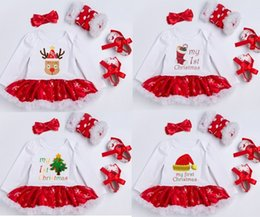 Jambe Tutus Pas Cher-Hotsale Christmas Newborn clothing Infants My 1st Christmas tutu dress + leg warmer + Chaussures + headbands 4pcs sets Boutique Letters Outfits