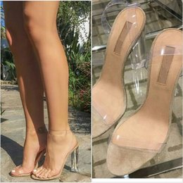 white plastic strap NZ - Kim Kardashian PVC Women Sandals Ankle Strap Round Clear High Heels 11cm Real Images Sexy Party Sandals Transparent Plastic