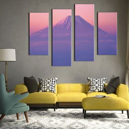 $enCountryForm.capitalKeyWord Canada - 4 Picture Combination Wall Art Japan's Mount Fuji Purple Picture Printed on Canvas for Hotel and Home Decoration