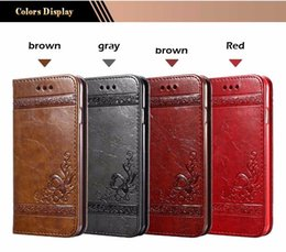 Discount flower leather flip phone case Luxury Retro Flower Leather Case For iPhone 7 Stand Flip Wallet Phone Cases Cover Back Embossing Case For iPhone 7 6 6s