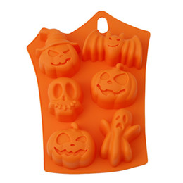 China 2017 Wholsesale Deal Halloween Props Pumpkin Silicone Six Shape Cake Mold Bake DIY Chocolate Mold Pudding Turn Cake Molds cheap chocolate mold shapes suppliers
